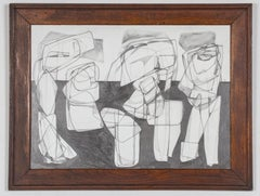 Trio (Black & White Abstract Graphite Drawing in Contemporary Frame)
