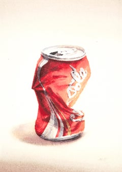 Coca Cola II (Photo-Realist Watercolor Pop Art Painting of Crushed Red Soda Can)