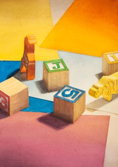 Toys (Photo-Realist Watercolor Pop Art Painting of Colorful Wood Child's Blocks)