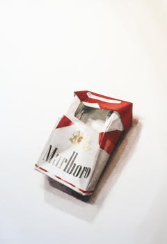 Marlboro III (Photo-Realist Pop Art Still Life Painting of a Red Cigarette Pack)