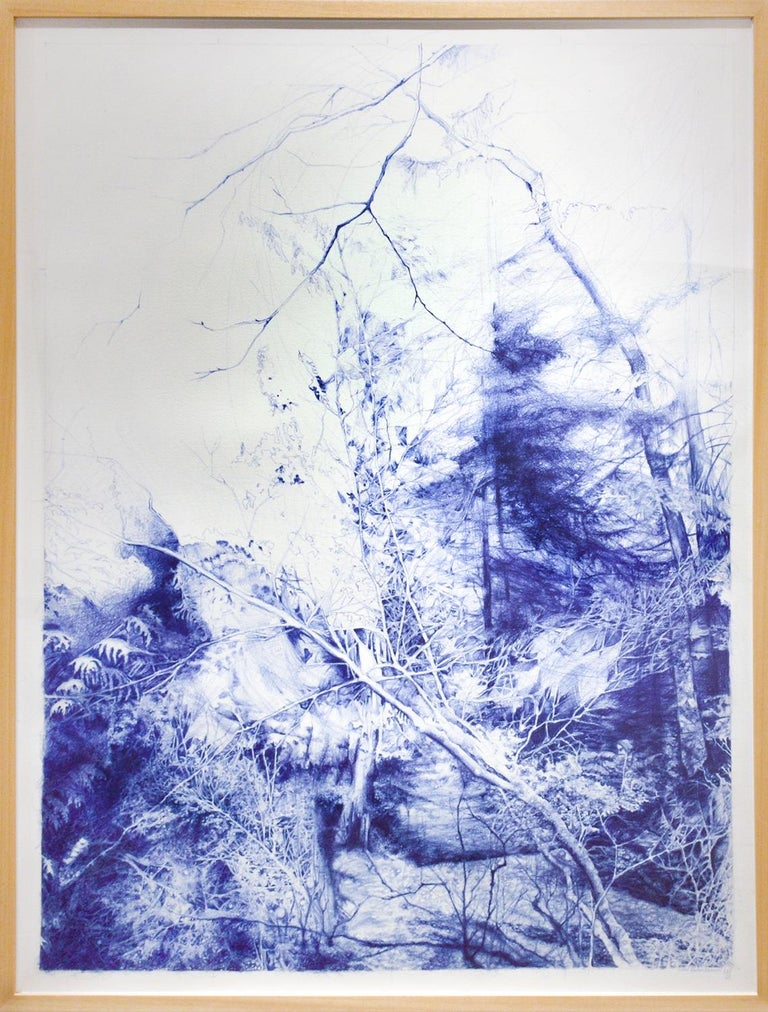 The Unseen (Ballpoint pen landscape drawing on paper in Blue ink) - Art by Linda Newman Boughton