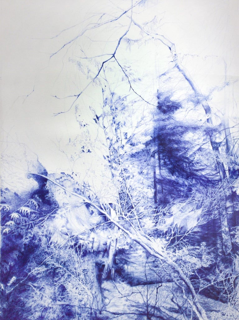 Linda Newman Boughton Figurative Art - The Unseen (Ballpoint pen landscape drawing on paper in Blue ink)