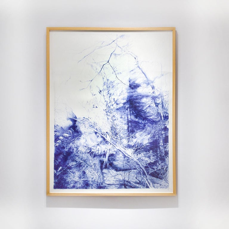 The Unseen (Ballpoint pen landscape drawing on paper in Blue ink) - Contemporary Art by Linda Newman Boughton