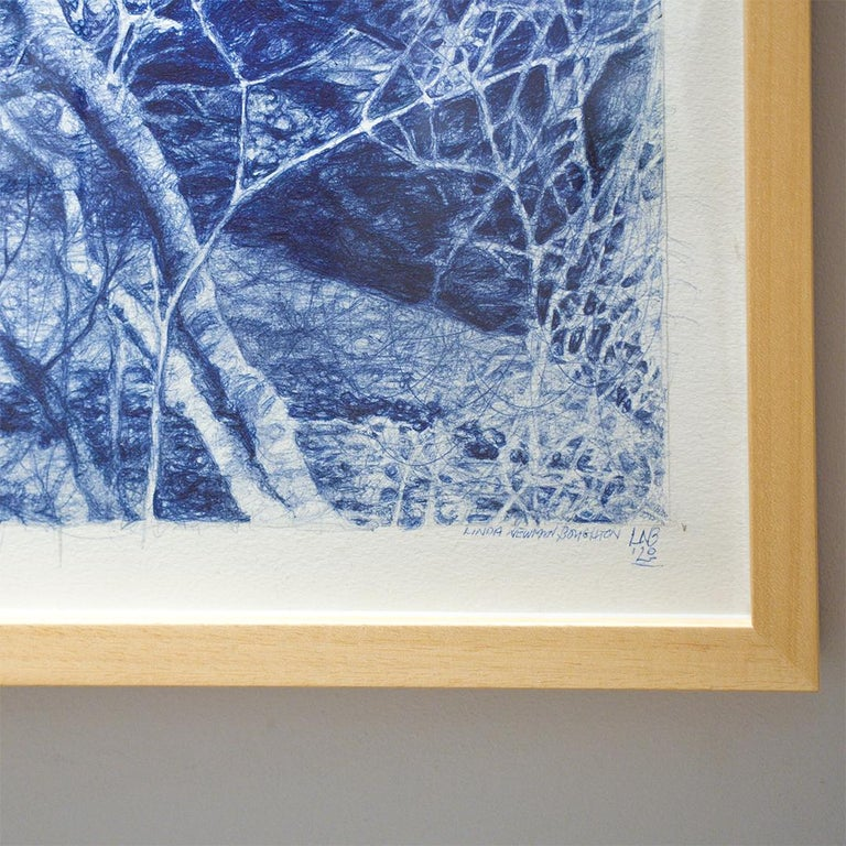 The Unseen (Ballpoint pen landscape drawing on paper in Blue ink) 1