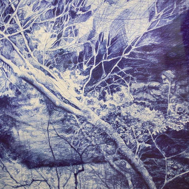 The Unseen (Ballpoint pen landscape drawing on paper in Blue ink) 2