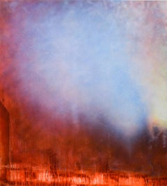 Burning Fog Over NYC: Abstract Color Field Landscape Painting of New York City