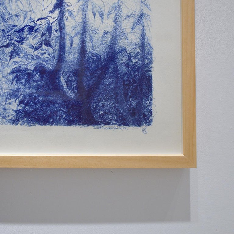 Realistic landscape drawing of a tall tree in a forest made with blue ballpoint pen on white cotton Arches paper