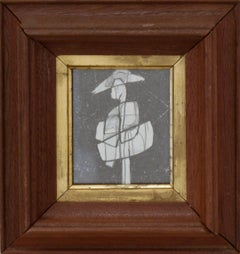 Infanta LX: Figurative Cubist Abstract Graphite Drawing with Antique Wood Frame