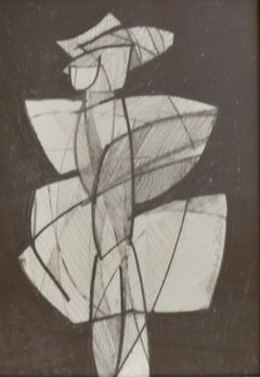 Infanta LXII: Figurative Abstract Cubist Style Graphite Drawing, White Frame