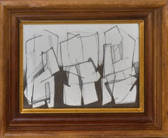 Three Figures: Figurative Cubist Abstract Graphite Drawing in Vintage Wood Frame
