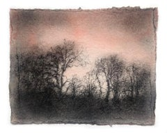 Reverie 14 (Black Charcoal & Light Red Watercolor Landscape Drawing of Trees)