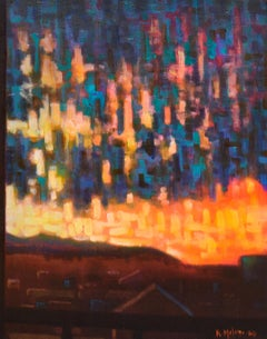 El Final del Dia: Abstracted Landscape Painting of Town Skyline & Sunset