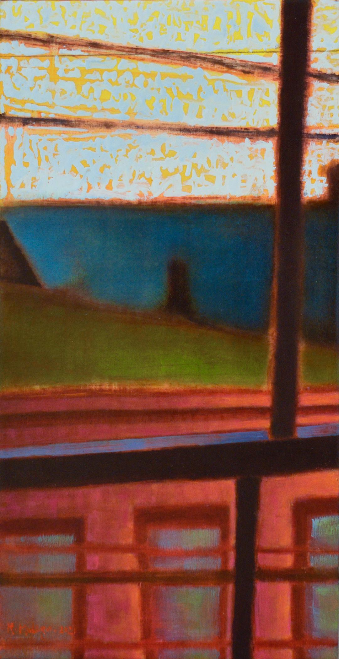 Rooftops Power Lines, Five & Diamond: Abstract Cityscape Painting of Hudson NY