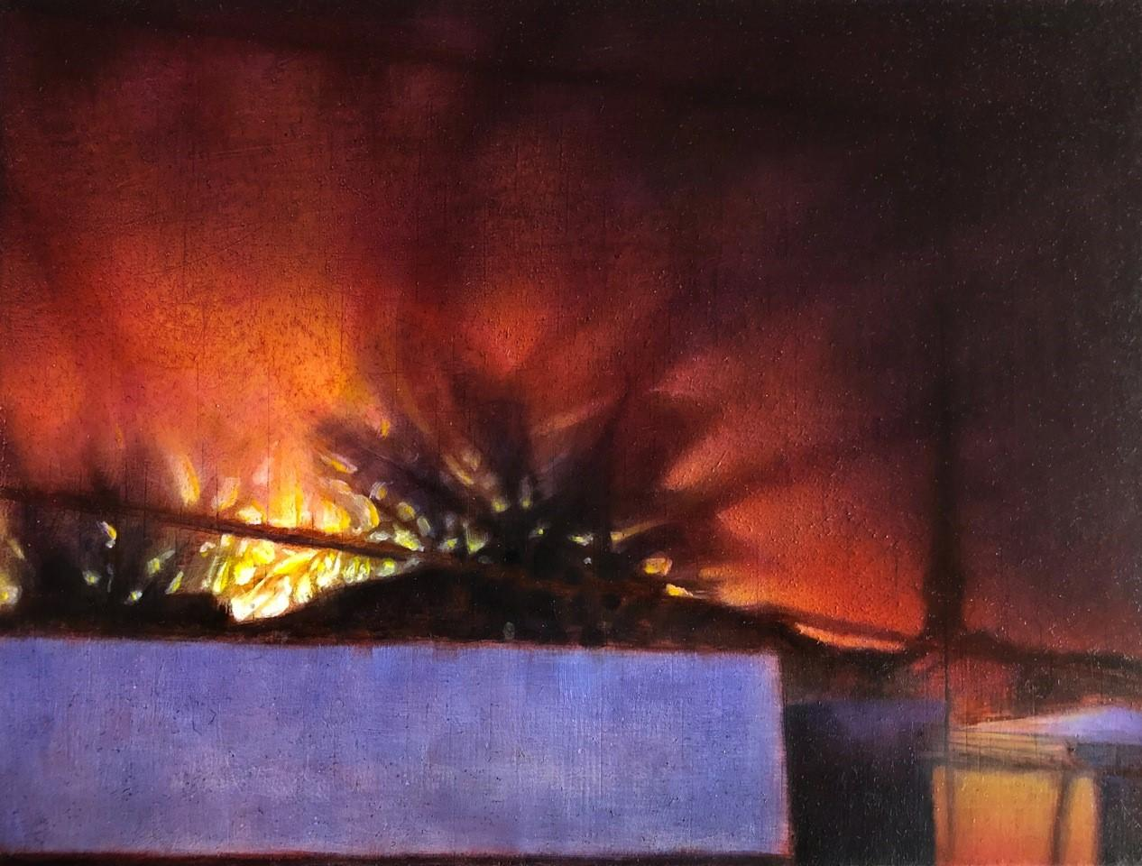 Winter Solstice Sunrise on North 5th: Cityscape Painting of Hudson NY