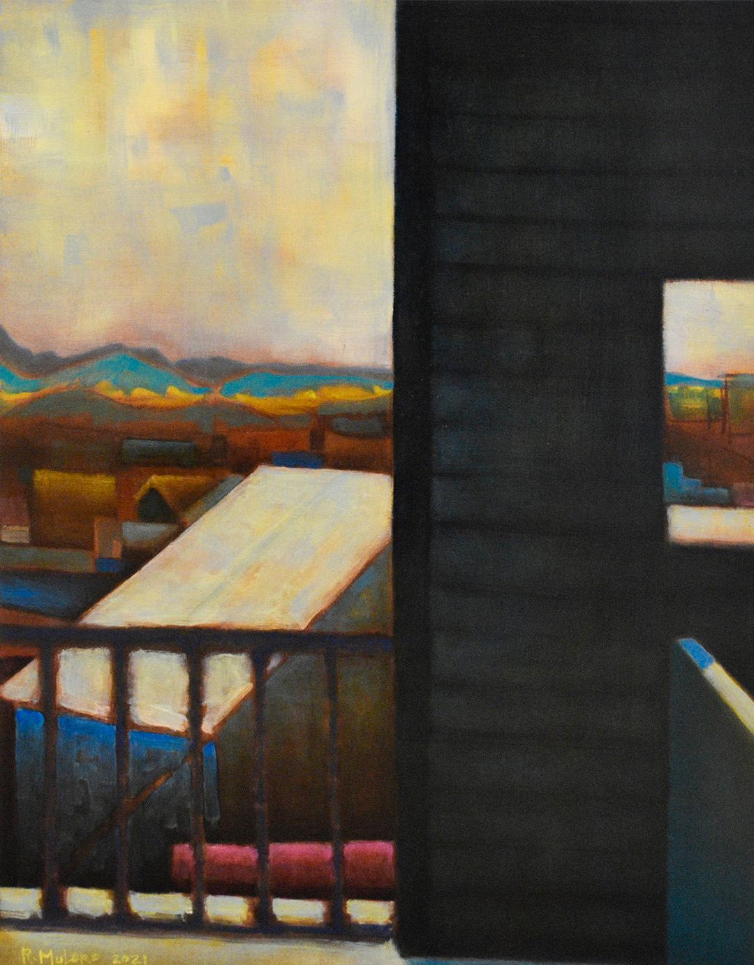 The Back Stairs: Abstract Landscape Painting of City Rooftops in Teal & Magenta