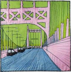 Triborough Bridge: Cityscape Landscape Mixed Media Painting of NYC Bridge