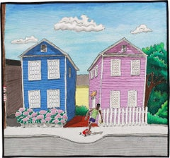 Spring Street: Mixed Media Landscape Quilted Painting of Pink & Blue Houses