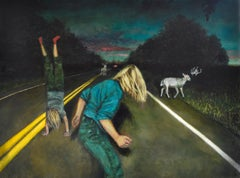 Phantom Limbs: Surrealist Figurative Painting of Children in a Night Landscape