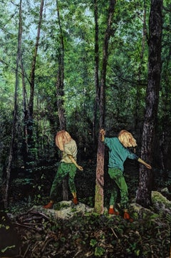 Secret Song: Figurative Painting of Blonde Dancing Girls in a Forest Landscape