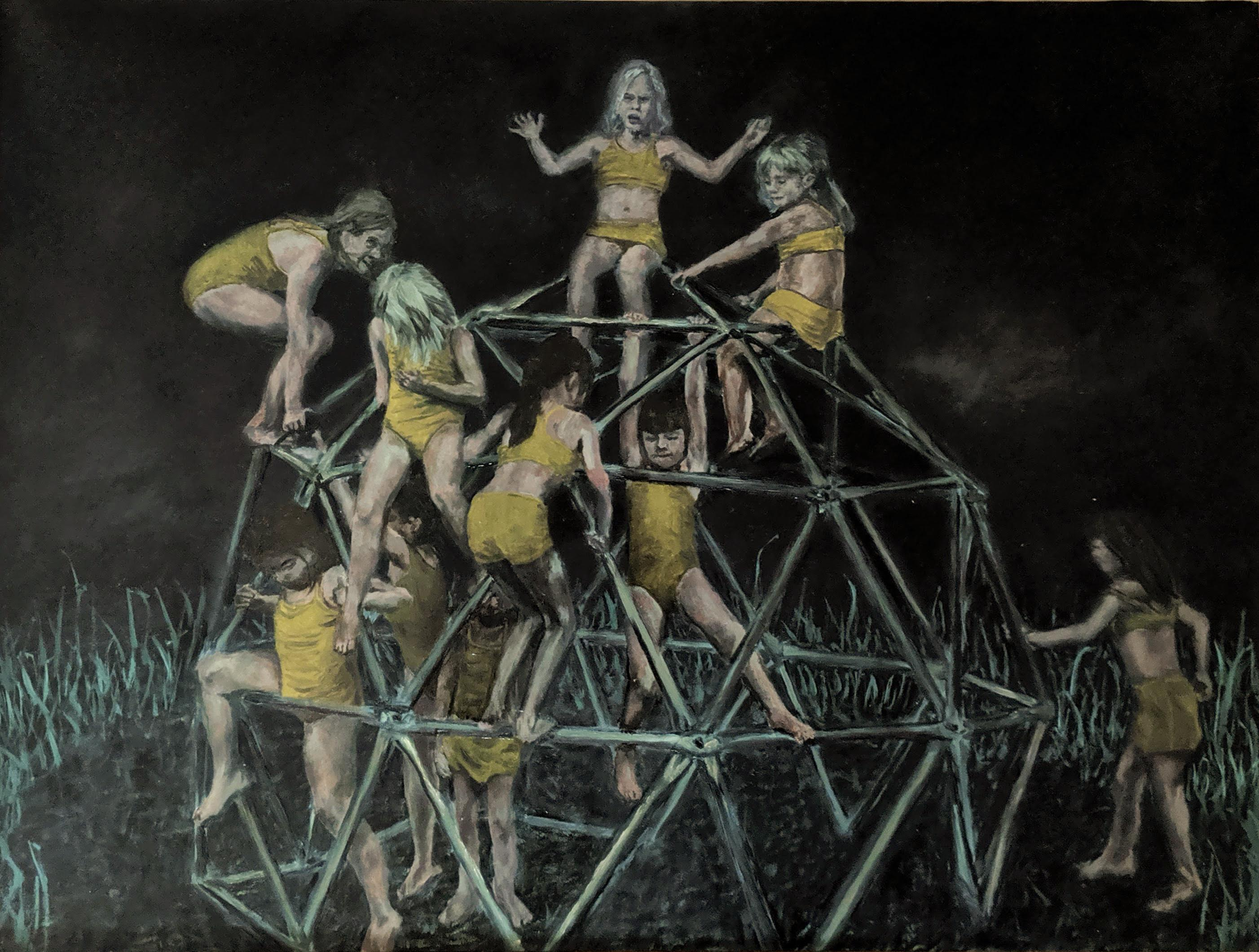 Playground: Figurative Painting on Panel of Young Girls in Yellow on Playground