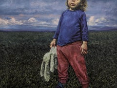 Maybe Its Only Us: Figurative Painting of Young Boy in Stormy Country Landscape