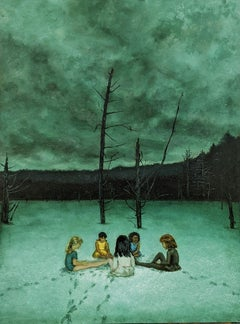 The Meeting: Figurative Paintings of Girls in a Winter Teal Green Landscape