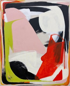 Certain Bliss 4: Abstract Expressionist Painting in Red, Pink, Black & White