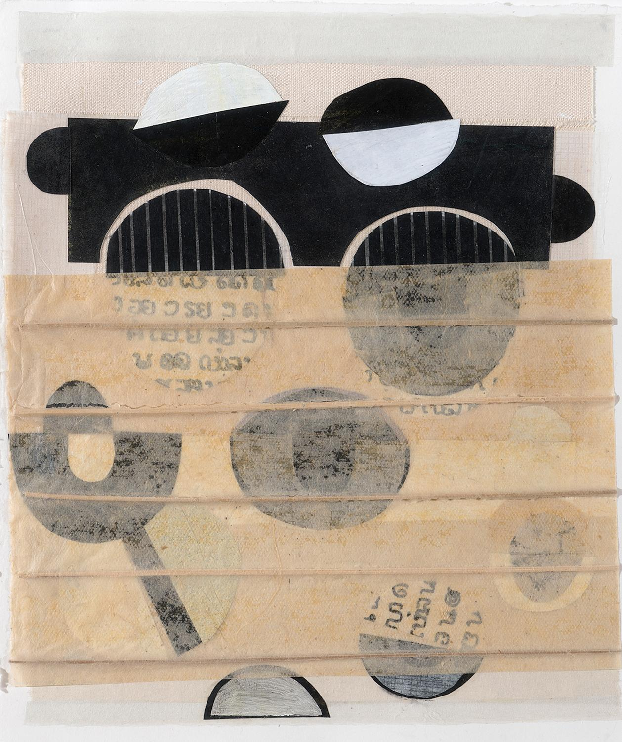 AMOK (Abstract Geometric Mixed Media Collage in Beige, Black & White)