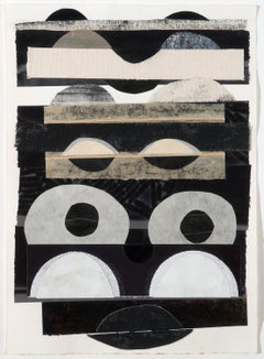 OCCULAE (Abstract Geometric Mixed Media Collage in White, Black, and Beige)