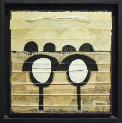 POPSIE (Abstract Geometric Mixed Media Collage in Beige and Black)
