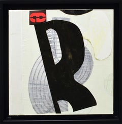 ROLL CALL (Abstract Geometric Mixed Media Collage in Black, White, Beige, Red)