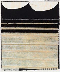 WAVY (Abstract Geometric Mixed Media Collage in White, Black & Beige)