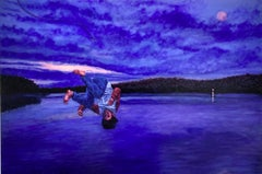 Into Night: Figurative Painting of a Boy Jumping Into a Blue Lake Landscape