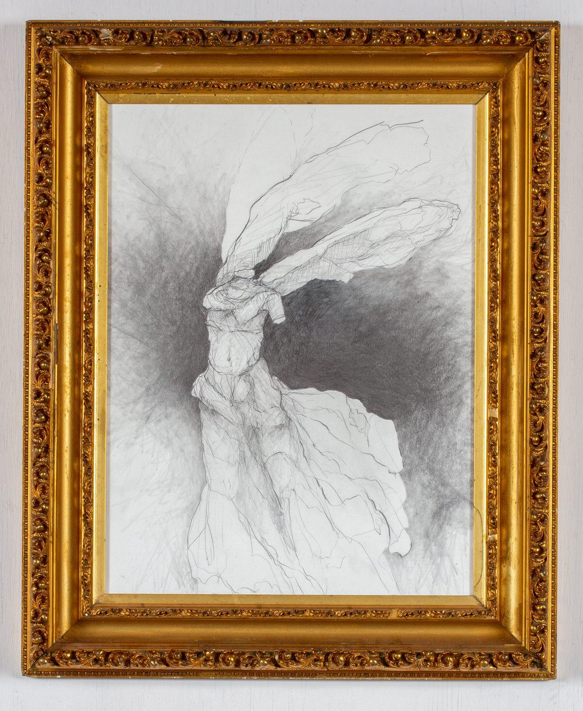 Nike VII (Abstracted Figurative Drawing of Winged Goddess in Antique Gold Frame)
