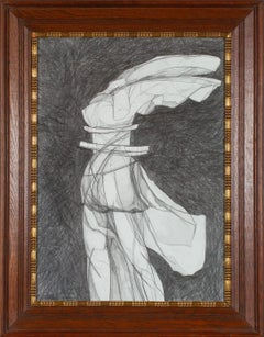 Nike VI: Figurative Abstract Graphite Drawing of Goddess Nike, Antique Frame