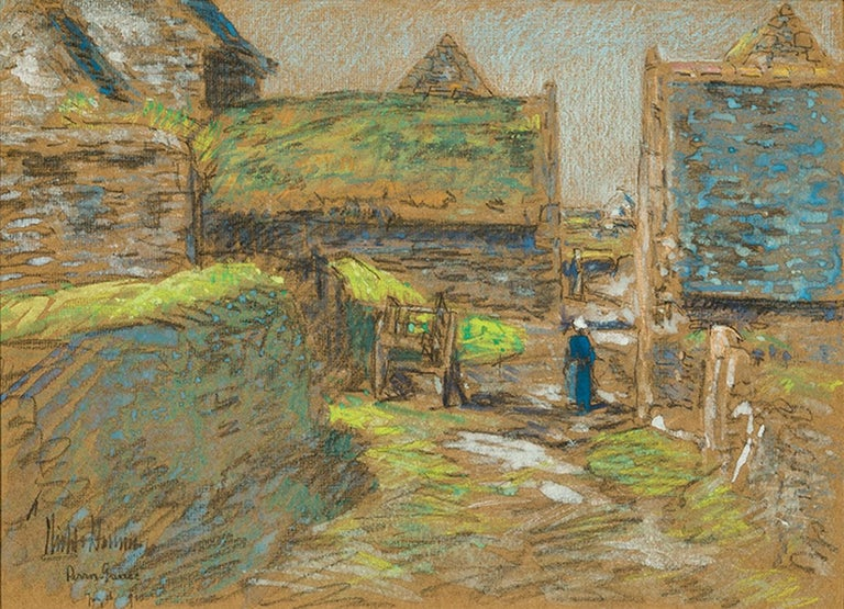 Childe Hassam, <i>Brittany Barns, Perros-Guirec</i>, 1910, offered by Hirschl & Adler