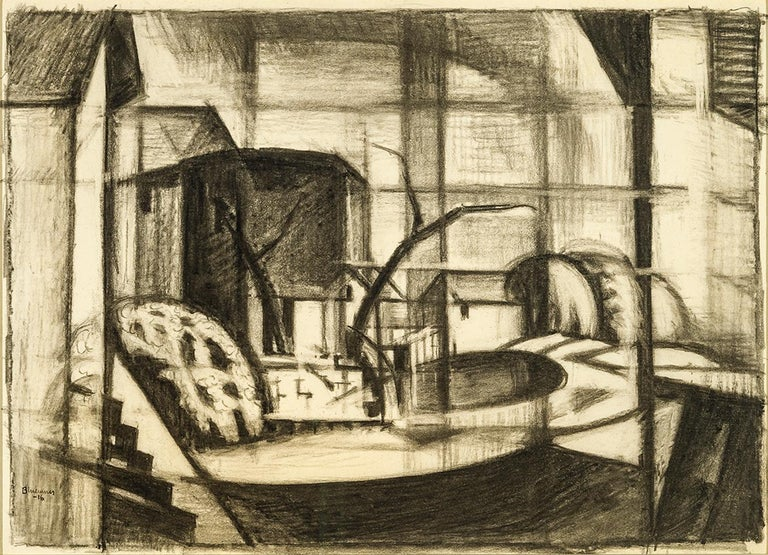 Oscar Florianus Bluemner Abstract Drawing - Study for Old Canal, Red and Blue (Rockaway, Morris Canal)