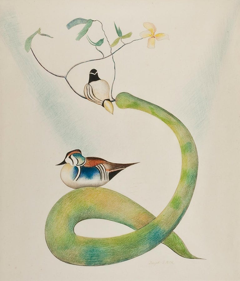 Joseph Stella Abstract Drawing - Two Wood Ducks on a Flowering Branch