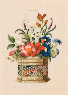 Still Life of Flowers in a Woven Basket