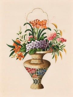 Still Life of Flowers in Woven Vase