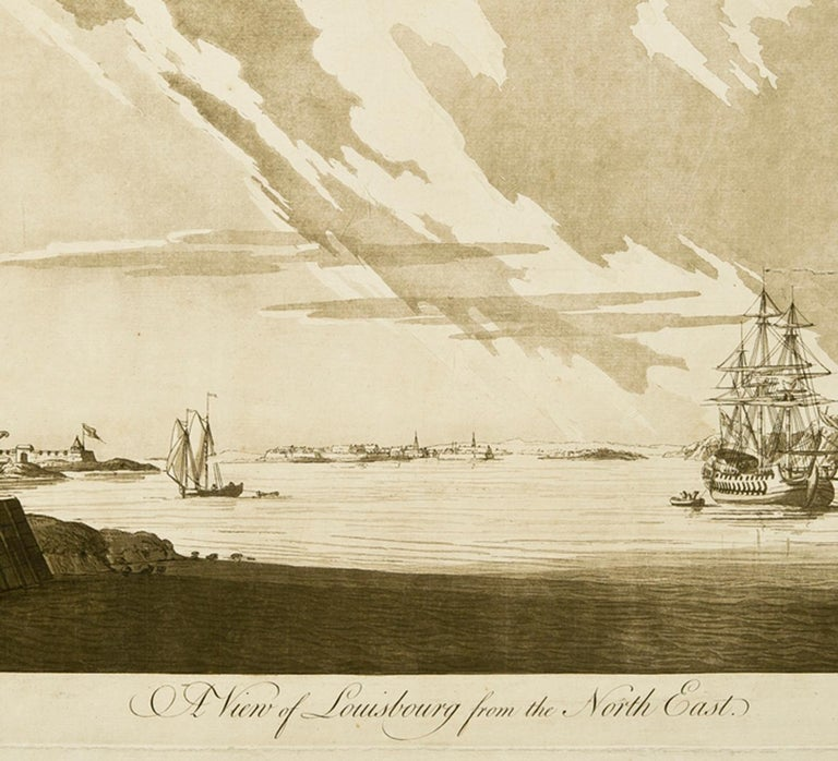 A View of Louisbourg from the Northeast  - Beige Landscape Art by J. F. W. Des Barres