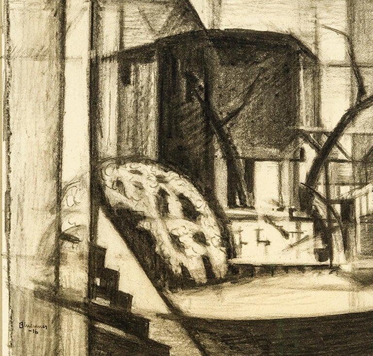 Study for Old Canal, Red and Blue (Rockaway, Morris Canal) - Art by Oscar Florianus Bluemner