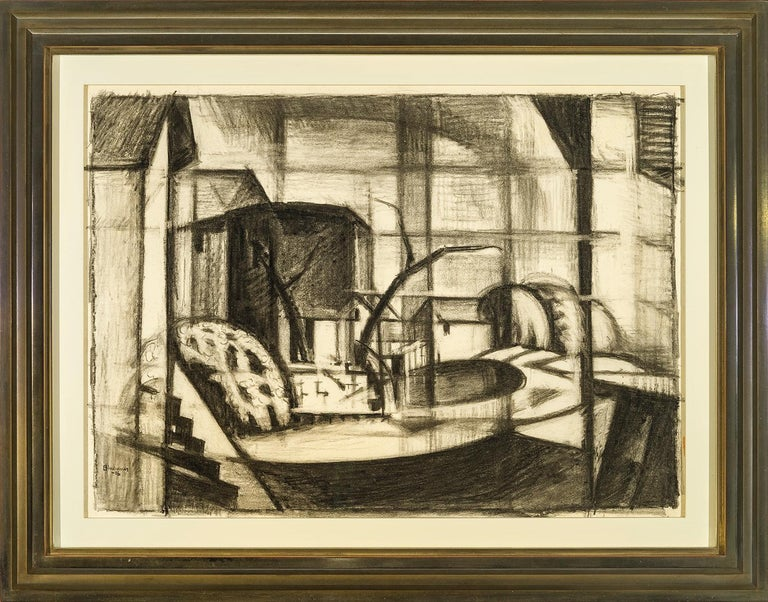 Study for Old Canal, Red and Blue (Rockaway, Morris Canal) - Beige Abstract Drawing by Oscar Florianus Bluemner