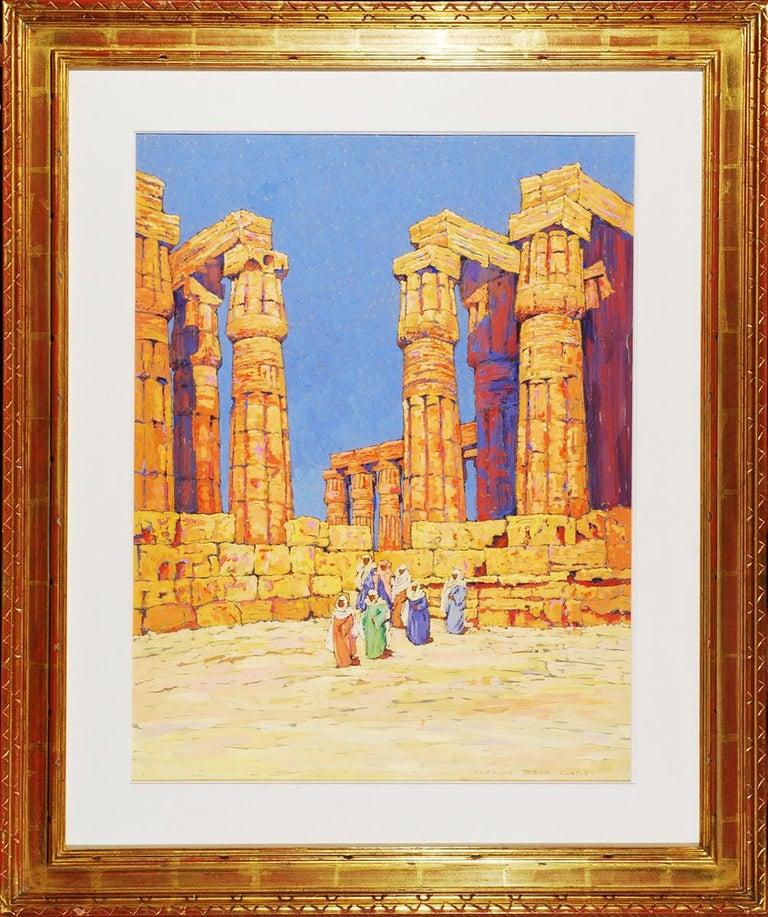 View of the Temple of Karnak, Egypt  - Beige Landscape Art by Eleanor Parke Custis