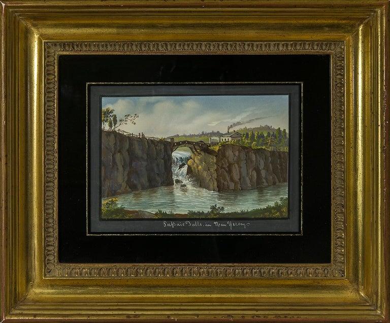 Passaic Falls in New Jersey - Black Landscape Art by Nicolino V. Calyo