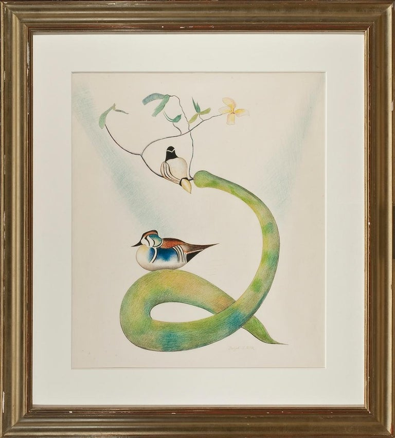 Two Wood Ducks on a Flowering Branch - Beige Abstract Drawing by Joseph Stella