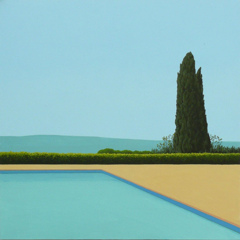 Magdalena Laskowska Landscape Painting - Cypress Tree by the pool - landscape painting