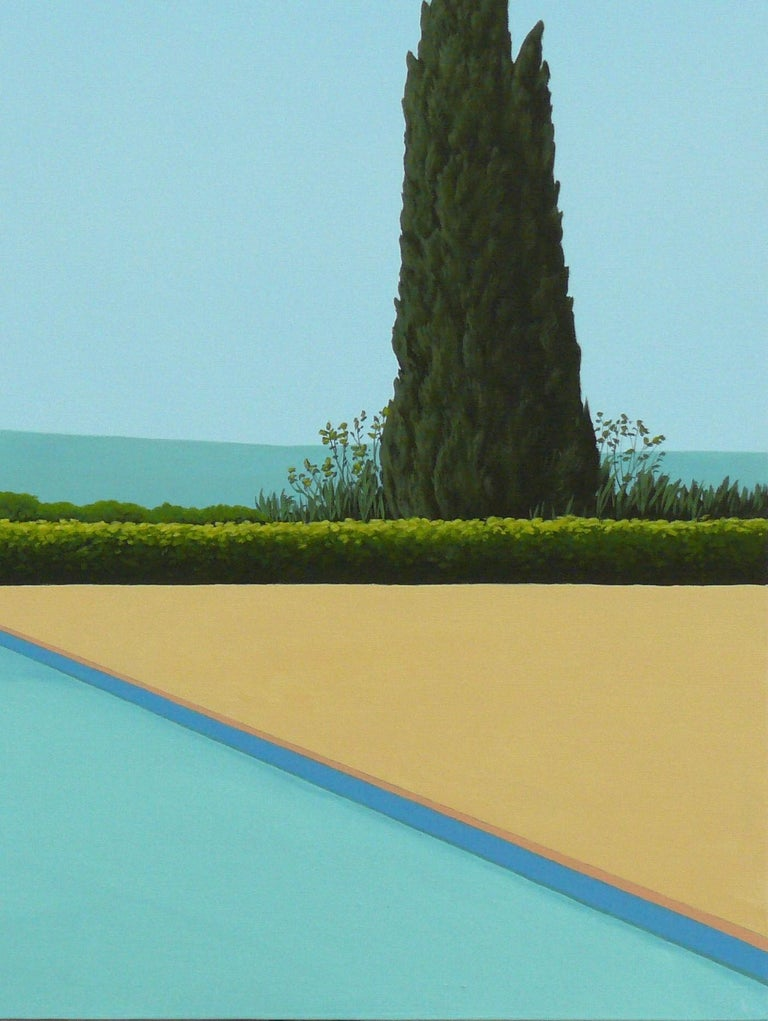 Cypress Tree by the pool - landscape painting - Painting by Magdalena Laskowska