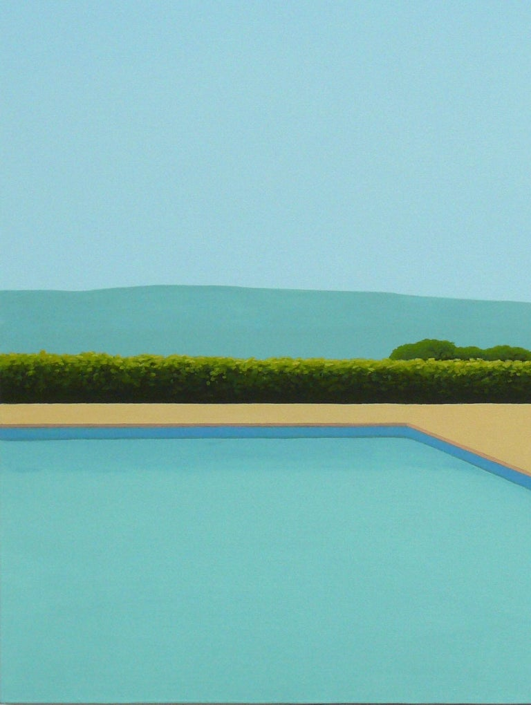 Cypress Tree by the pool - landscape painting - Contemporary Painting by Magdalena Laskowska