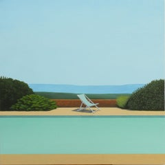 Deck Chair by the pool - landscape painting